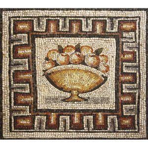 Mosaico jarrón artesanal con fruta. Tamaño 85×76 cm. 5700 teselas de 7,5mm.