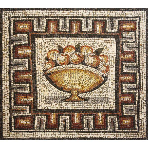 Mosaico jarrón artesanal con fruta