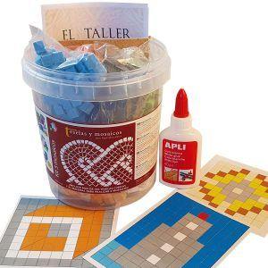 Kit cubo tres mosaicos, flor, faro y cubo 3D (300 teselas)