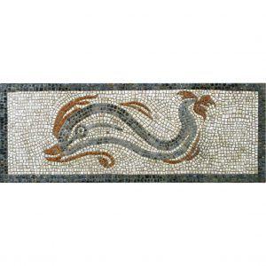 Mosaico delfín tres colores. Tamaño 53×20 cm. 3400 teselas de 5mm.