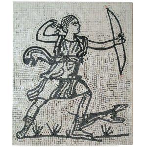 Mosaico Diana cazadora terminado. Tamaño 40×34 cm. 5000 teselas de 5mm.