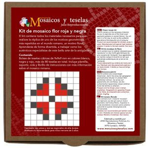 Kit mosaico flor roja y negra (80 teselas)