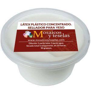 Látex plástico concentrado. Sellador para yeso. Secado transparente. 90 gramos.