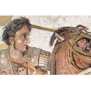 Mosaico Alejandro Magno hecho a mano. Medida: 155×100 cm. 33000 teselas de 5mm.