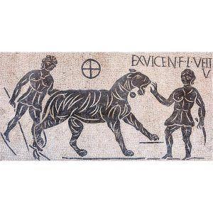 Kit mosaico bestiarios Coliseo romano. 18000 teselas de 5mm. Tamaño 103×53 cm.