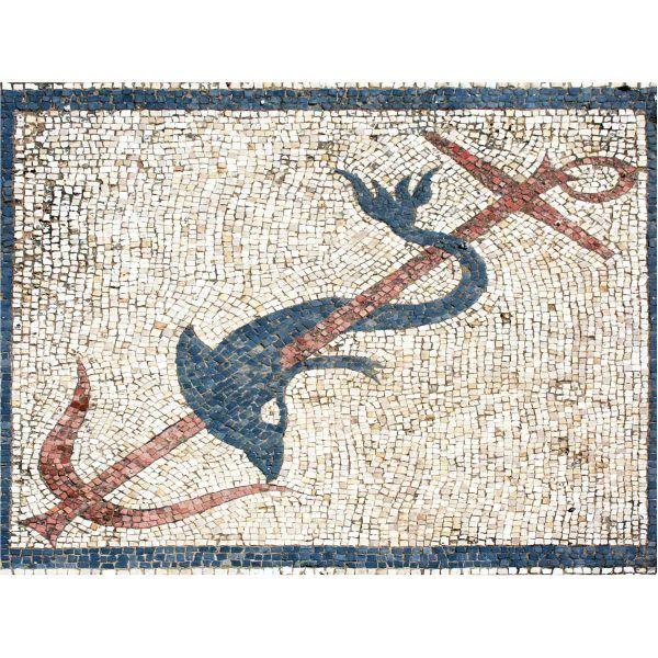 Mosaico delfín con ancla