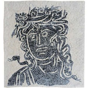 Mosaico romano las estaciones terminado. Tamaño: 28×28 cm. 4000 teselas de 5mm.