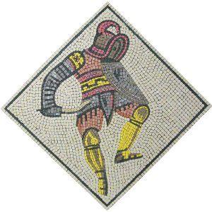 Mosaico gladiador Tracio. Tamaño: 42×42 cm. 3000 teselas de 7,5 mm.