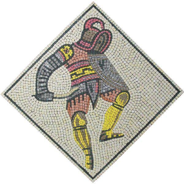 mosaico gladiador tracio hecho a mano