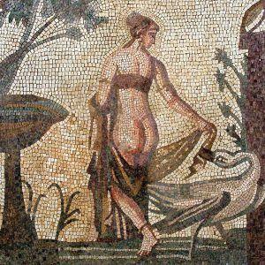 Mosaico Leda y el cisne hecho a mano. Medida: 60×60 cm. 6500 teselas de 5mm.