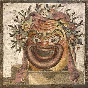 Mosaico máscara de teatro hecho a mano. Medida: 60×60 cm. 7000 teselas de 5mm.