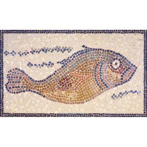 Mosaico pez museo Brooklyn. Tamaño 60×35 cm. 3000 teselas de 7,5 mm.