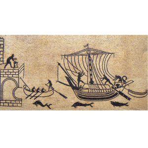 Mosaico puerto marítimo y barco hecho a mano. Medida: 120×60 cm. 20000 teselas de 5mm.