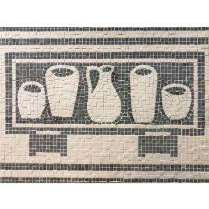 Mosaico arcón con vasijas. Tamaño 36×20 cm. 2400 teselas de 5mm.