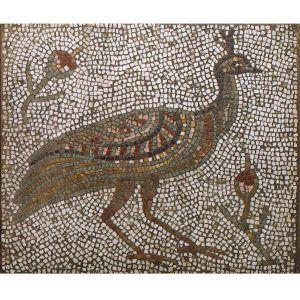 Mosaico romano pavo real. Tamaño 66×56 cm. 4200 teselas de 7,5mm.