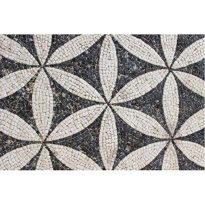 Mosaico geométrico pétalos blanco y negro. Tamaño 42×28 cm. 3000 teselas de 5mm.