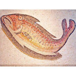 Mosaico romano pez colores. Tamaño 75×52 cm. 4000 teselas de 7,5 mm.