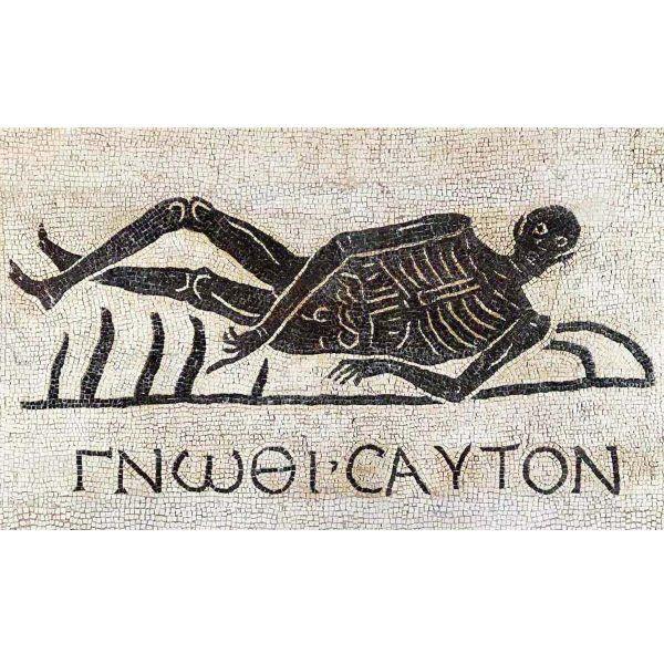 mosaico esqueleto reclinado