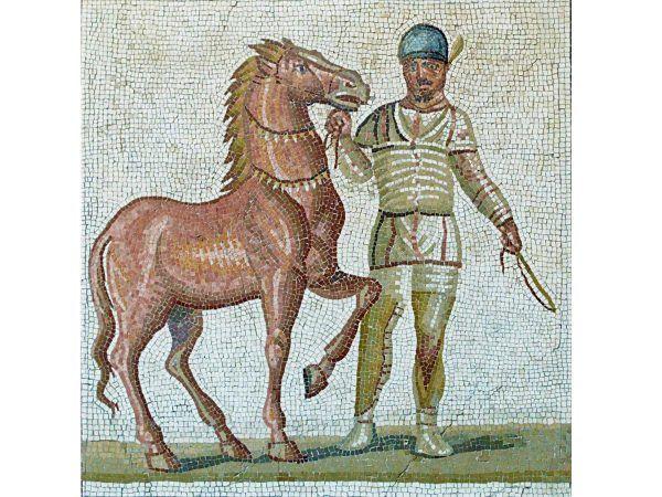 mosaico romano auriga con caballo