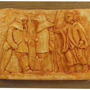 Relieve escena gladiadores romanos