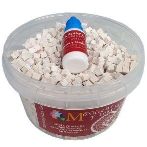 Cubo 1500 teselas pequeñas blancas emblemata de 5x5mm + cola blanca de regalo