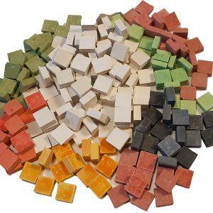 Malla 1kg teselas planas colores para mosaico de 7,5×7,5x3mm. (unas 3500 teselas)
