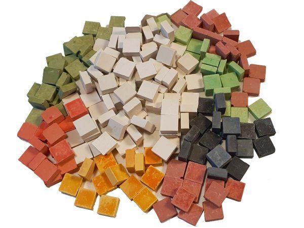 malla 1kg teselas planas colores