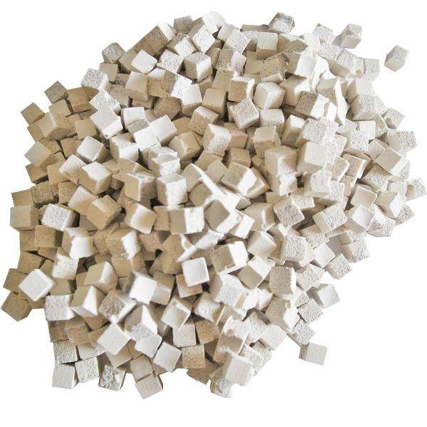 malla 1kg teselas pequeñas blancas