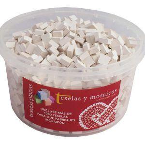 Cubo 1000 teselas planas blancas para mosaico de 7,5×7,5×3 mm + cola de regalo