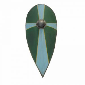 Escudo cometa medieval azul y verde