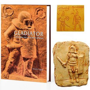 Pack regalo libro Gladiador dedicado + relieve + imán